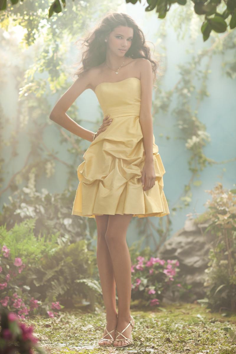 Bridesmaids, Bridesmaids Dresses, Fashion, yellow, Strapless, Strapless Wedding Dresses, Alfred angelo, Pick-ups, luxe taffeta