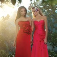 Bridesmaids, Bridesmaids Dresses, Sweetheart Wedding Dresses, Fashion, pink, red, Sweetheart, Strapless, Strapless Wedding Dresses, Satin, Alfred angelo, organza flowers, floor length, satin wedding dresses