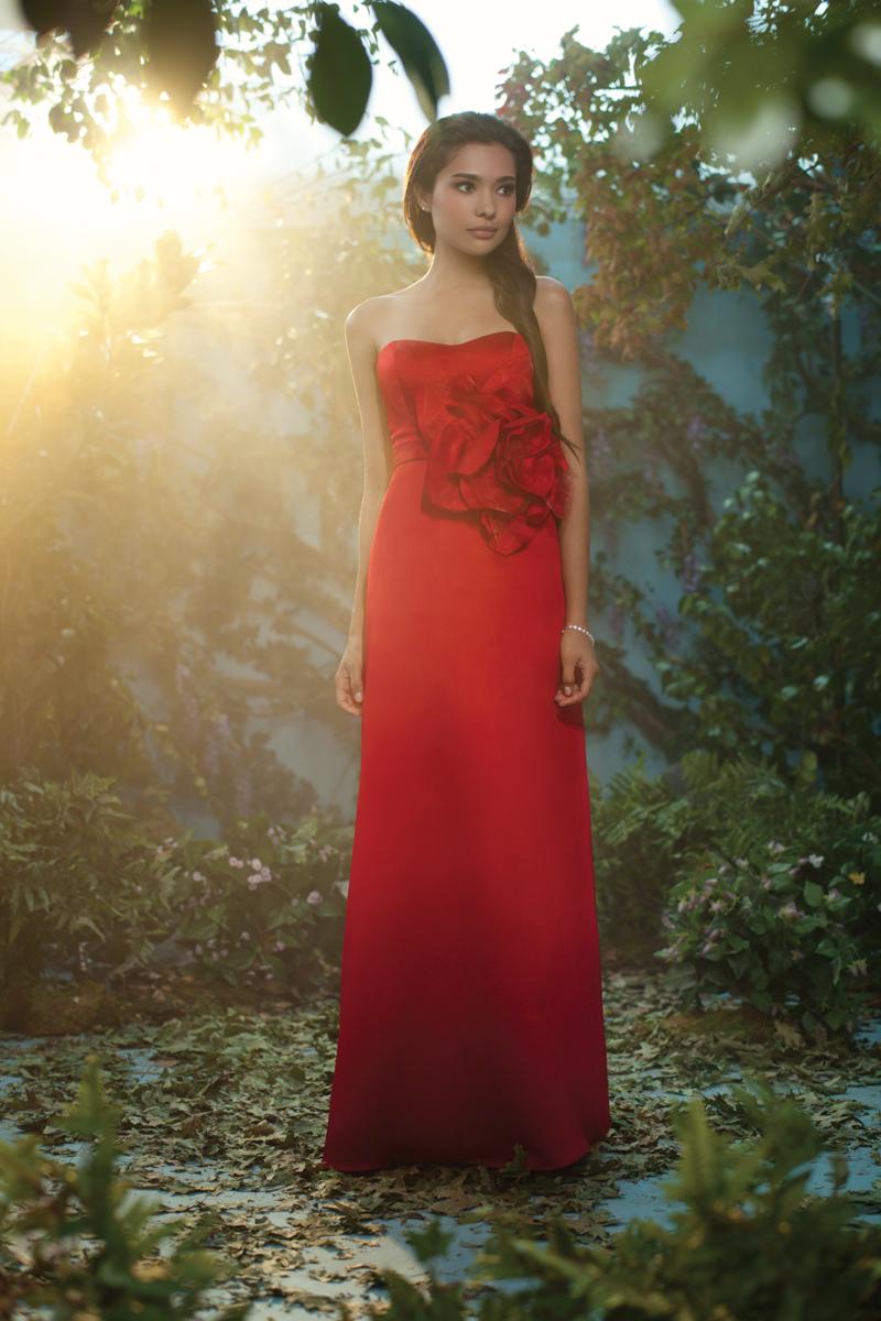 Bridesmaids, Bridesmaids Dresses, Fashion, red, Strapless, Strapless Wedding Dresses, Satin, Alfred angelo, 3D flower, floor length, satin wedding dresses
