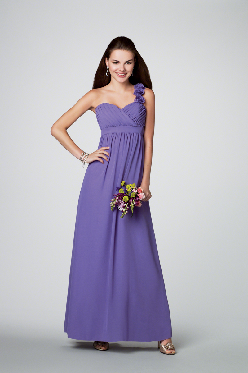 Bridesmaids, Bridesmaids Dresses, Fashion, Flower detail, Alfred angelo, one-strap, empire waist, floor length