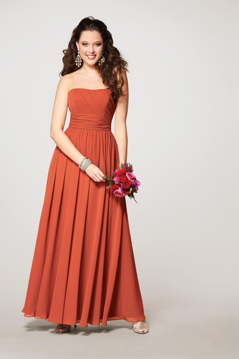 Bridesmaids, Bridesmaids Dresses, A-line Wedding Dresses, Fashion, orange, Strapless, Strapless Wedding Dresses, A-line, Alfred angelo, pleated bodice