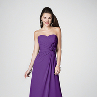 Bridesmaids, Bridesmaids Dresses, Fashion, purple, Strapless, Strapless Wedding Dresses, Flower detail, Alfred angelo, floor length, side ruche