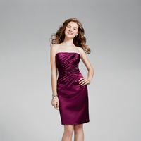 Bridesmaids, Bridesmaids Dresses, Fashion, purple, Strapless, Strapless Wedding Dresses, Satin, Alfred angelo, cocktail length, satin wedding dresses