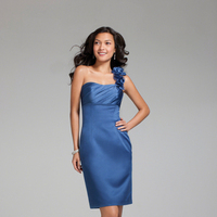 Bridesmaids, Bridesmaids Dresses, Fashion, blue, Alfred angelo, cocktail length, one-stap, ruched bust