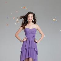 Bridesmaids, Bridesmaids Dresses, Fashion, purple, Strapless, Strapless Wedding Dresses, Alfred angelo, Ruching, High-low, high-low wedding dresses