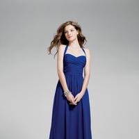 Bridesmaids, blue, A-line, Halter, Chiffon, Alfred angelo, Ruching, floor length