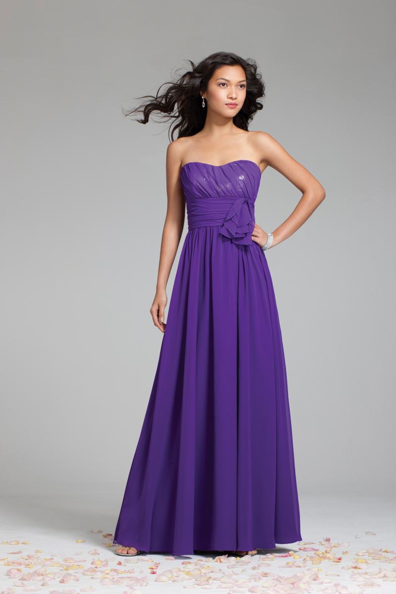 Bridesmaids, Bridesmaids Dresses, A-line Wedding Dresses, Fashion, purple, Strapless, Strapless Wedding Dresses, A-line, Chiffon, Alfred angelo, floor length, Chiffon Wedding Dresses