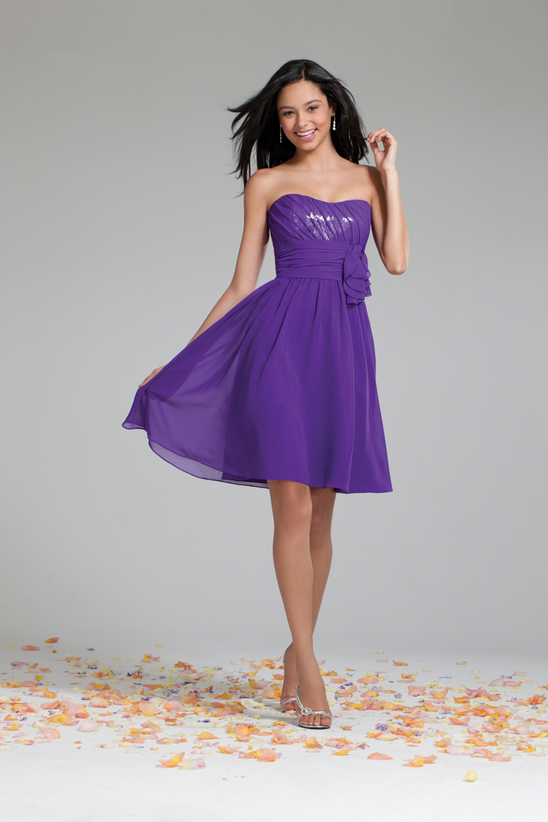 Bridesmaids, Bridesmaids Dresses, A-line Wedding Dresses, Fashion, purple, Strapless, Strapless Wedding Dresses, A-line, Chiffon, Alfred angelo, cocktail length, Chiffon Wedding Dresses