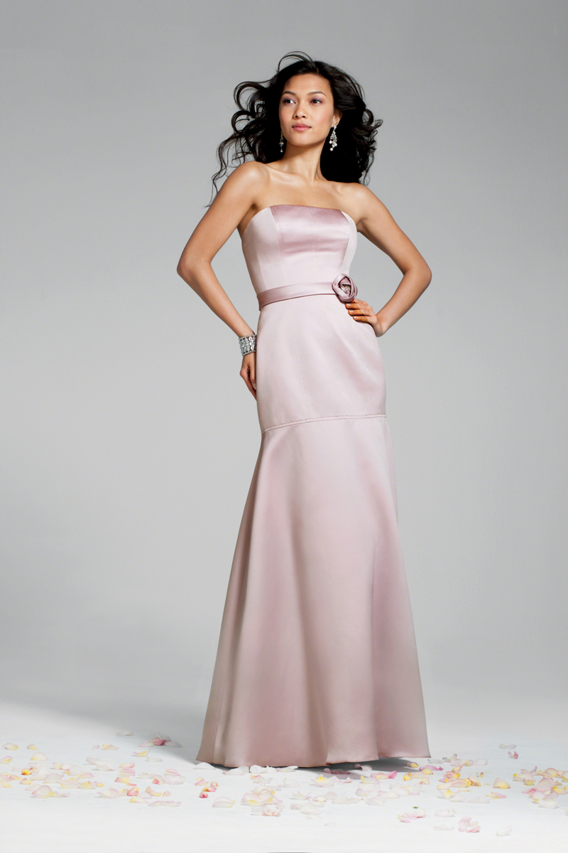 Bridesmaids, Bridesmaids Dresses, Fashion, Strapless, Strapless Wedding Dresses, Fit and flare, Satin, Alfred angelo, 3D flower, floor length, satin wedding dresses
