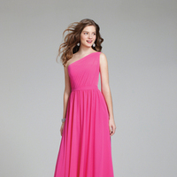 Bridesmaids, Bridesmaids Dresses, One-Shoulder Wedding Dresses, A-line Wedding Dresses, Fashion, pink, A-line, Chiffon, Alfred angelo, One-shoulder, Chiffon Wedding Dresses