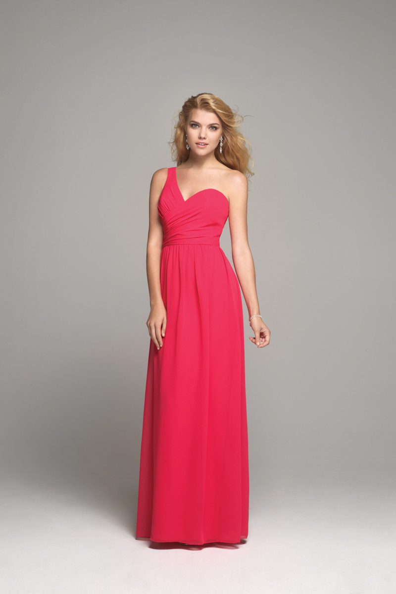 Bridesmaids, Bridesmaids Dresses, Sweetheart Wedding Dresses, One-Shoulder Wedding Dresses, Fashion, pink, Sweetheart, Alfred angelo, One-shoulder, ruched bust