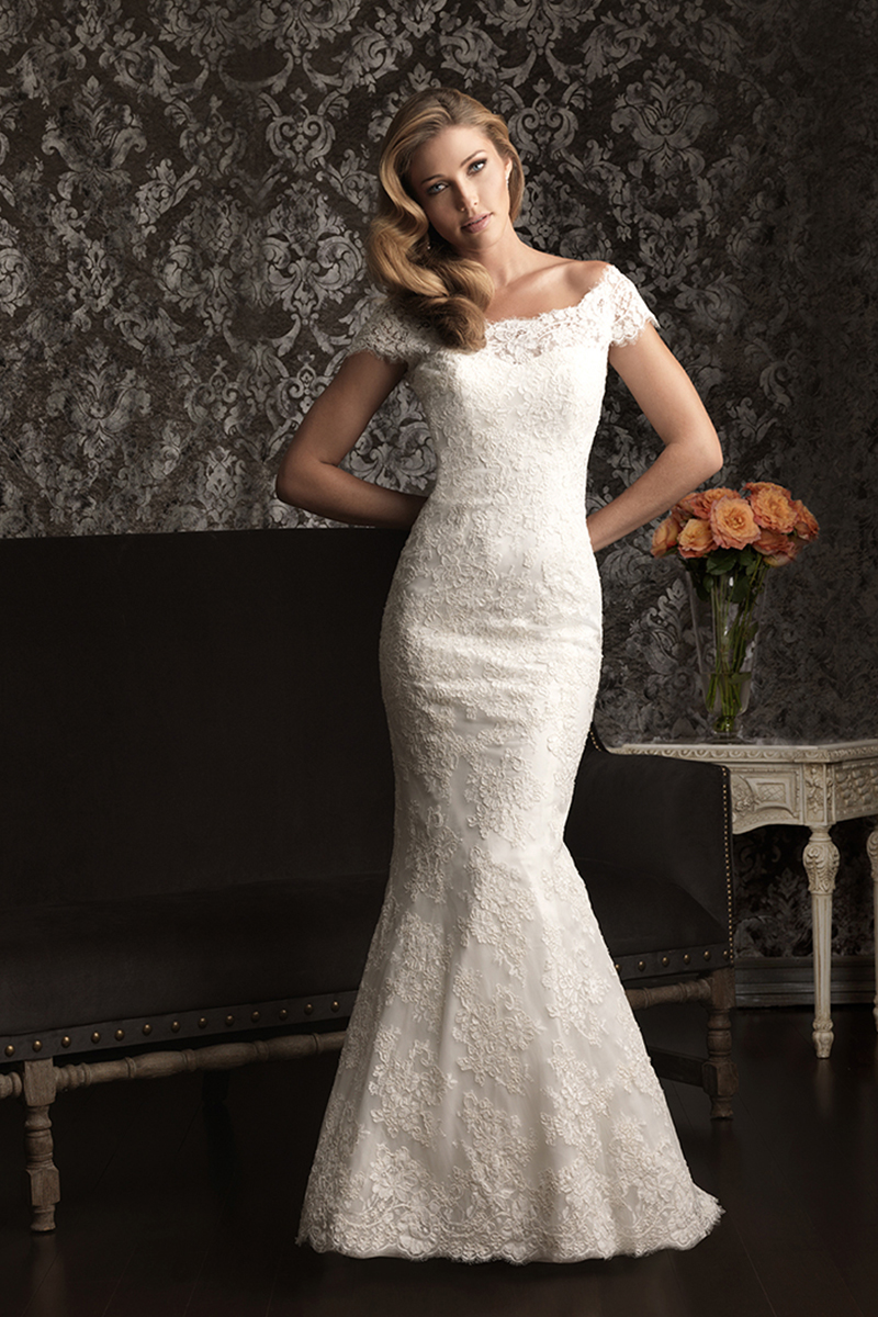 Wedding Dresses, Lace Wedding Dresses, Fashion, Lace, Off the shoulder, Cap sleeves, Fit and flare, Allure Bridals, Off the Shoulder Wedding Dresses