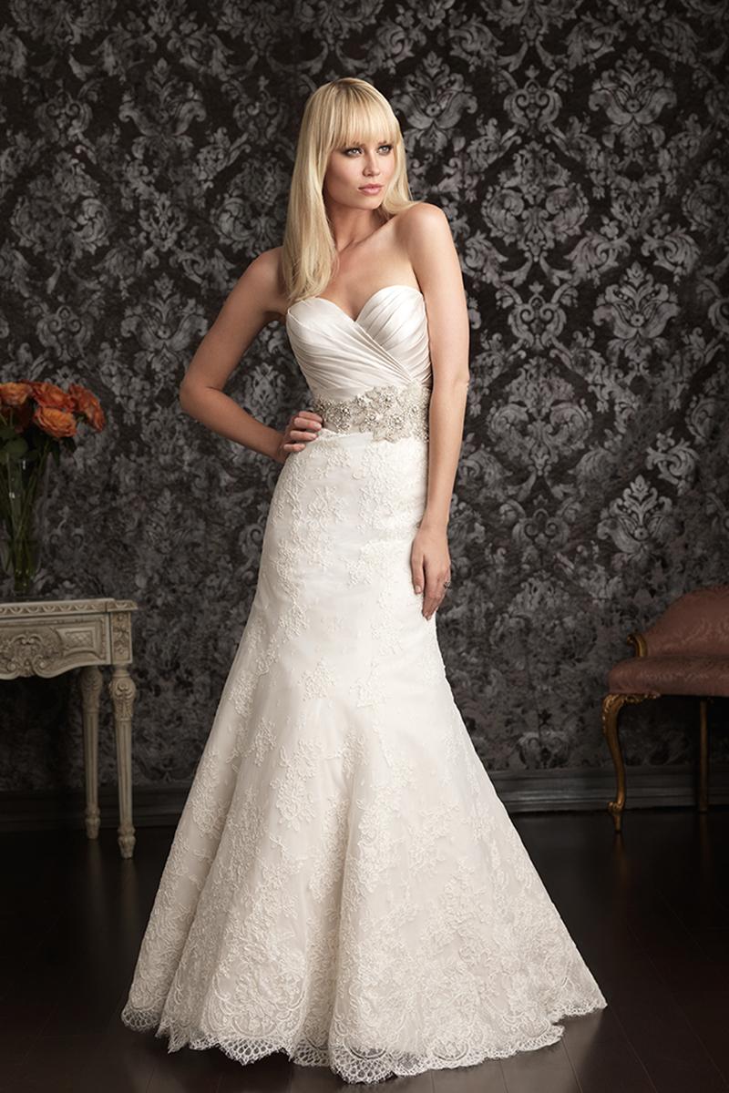 Wedding Dresses, Sweetheart Wedding Dresses, Lace Wedding Dresses, Fashion, Lace, Sweetheart, Allure Bridals, Belt, Swarovski crystals, Ruching