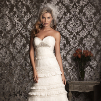 Wedding Dresses, Sweetheart Wedding Dresses, A-line Wedding Dresses, Ruffled Wedding Dresses, Lace Wedding Dresses, Fashion, Lace, Sweetheart, Strapless, Strapless Wedding Dresses, A-line, Empire, Allure Bridals, Brooch, Ruffles, Swarovski crystal