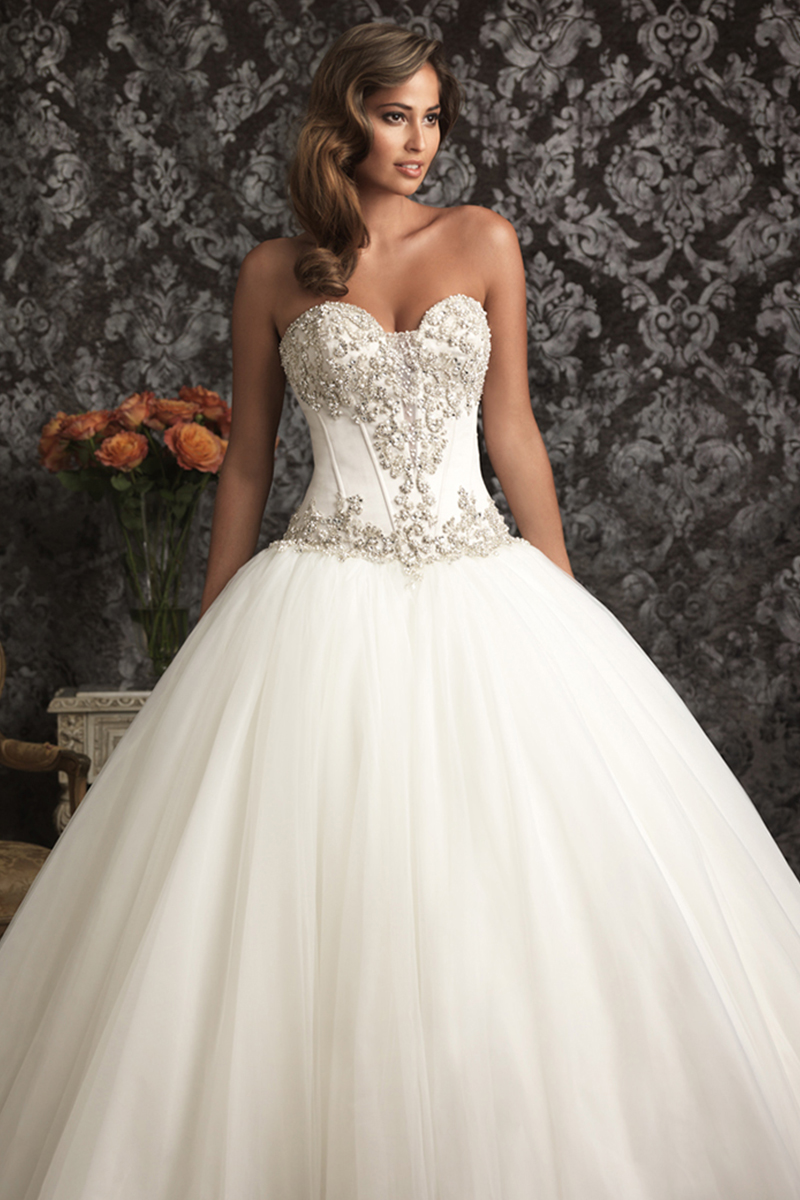 Wedding Dresses, Sweetheart Wedding Dresses, Ball Gown Wedding Dresses, Fashion, Sweetheart, Strapless, Strapless Wedding Dresses, Allure Bridals, Satin, Swarovski crystals, Ball gown, chapel train, satin wedding dresses