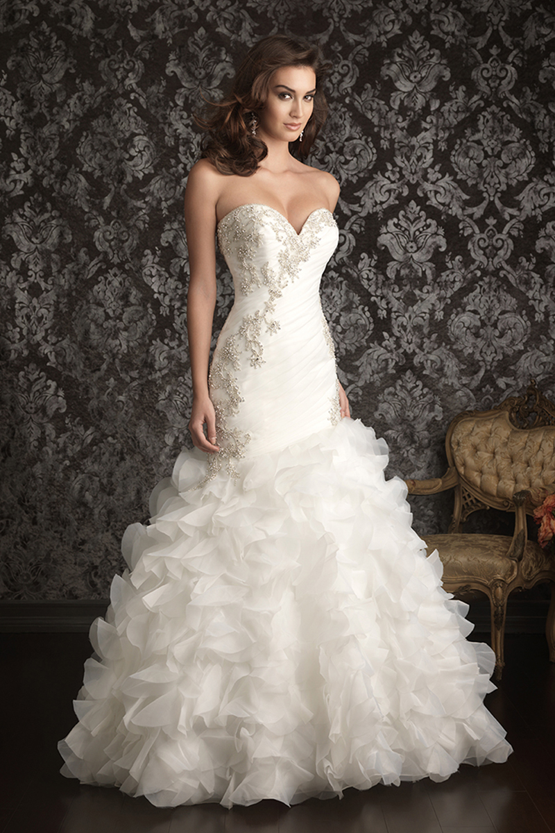 Wedding Dresses, Sweetheart Wedding Dresses, Ruffled Wedding Dresses, Fashion, Sweetheart, Strapless, Strapless Wedding Dresses, Fit and flare, Allure Bridals, Embroidery, Organza, Ruffles, chapel train, organza wedding dresses