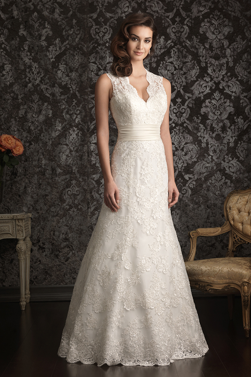 Wedding Dresses, Lace Wedding Dresses, Fashion, Lace, V-neck, V-neck Wedding Dresses, Allure Bridals, chapel train