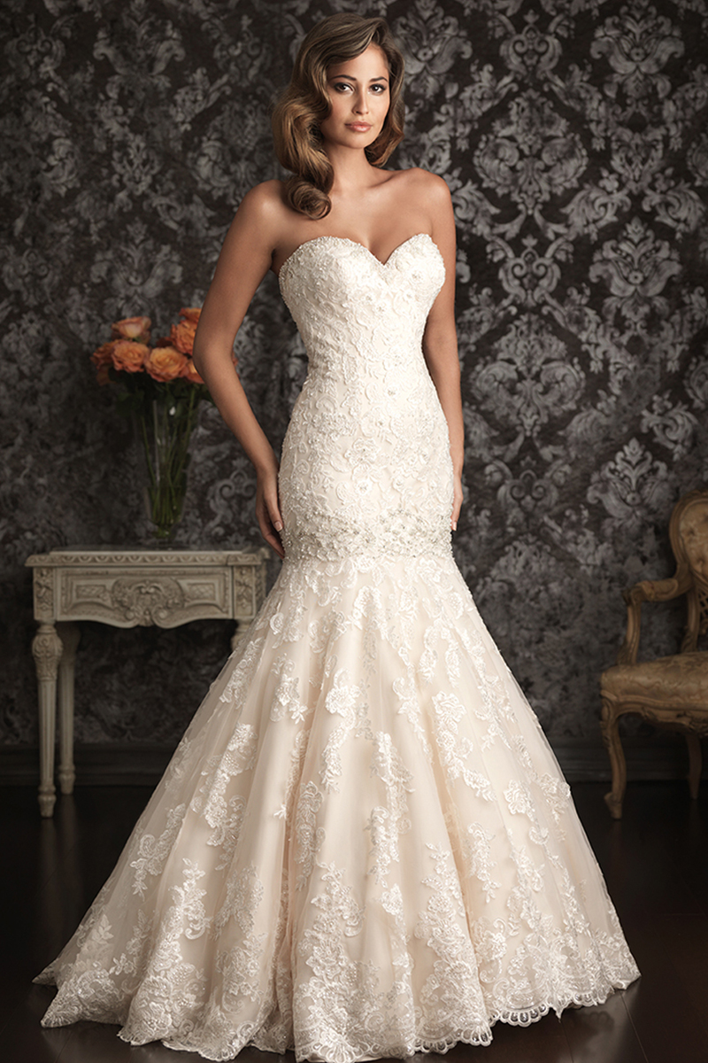 Wedding Dresses, Mermaid, Lace, Sweetheart, Strapless, Allure Bridals, Applique, dropped waist