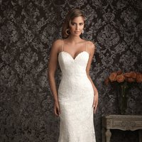 Wedding Dresses, Lace Wedding Dresses, Fashion, Lace, Spaghetti straps, Allure Bridals, Satin, satin wedding dresses, Spahetti Strap Wedding Dresses
