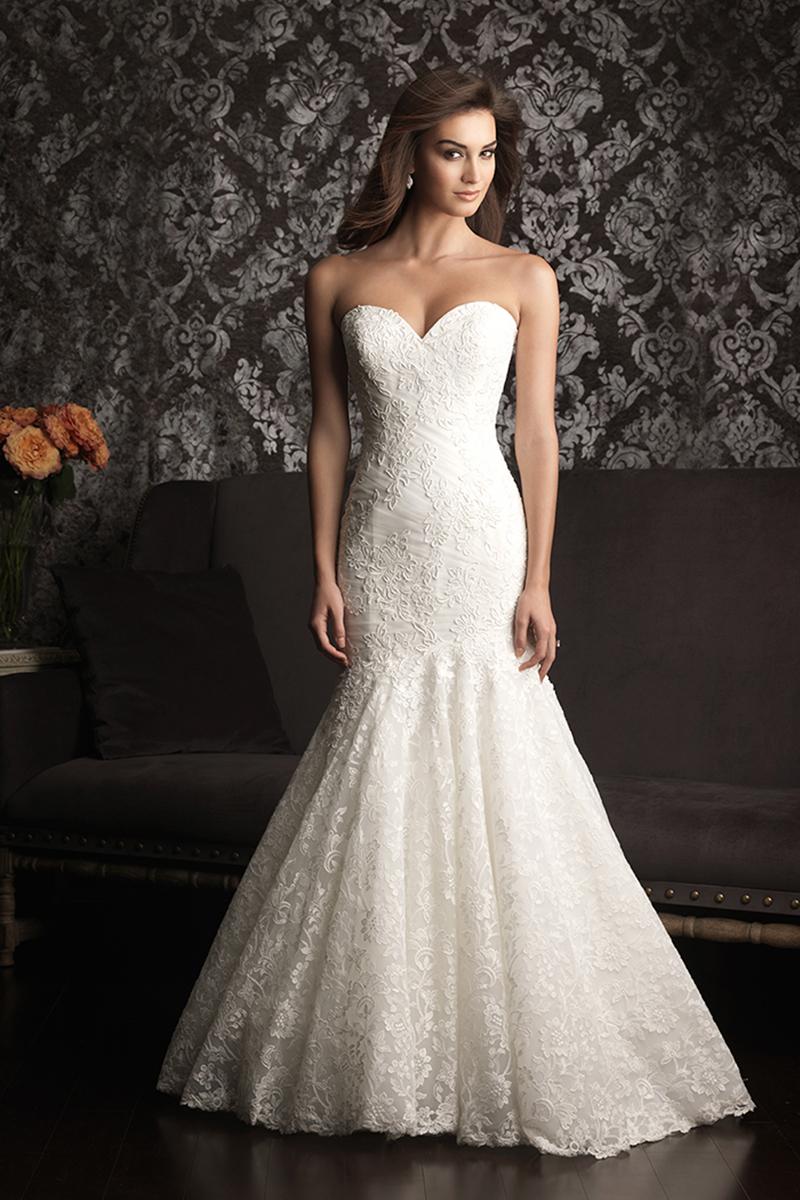 Wedding Dresses, Sweetheart Wedding Dresses, Lace Wedding Dresses, Fashion, Mermaid, Lace, Sweetheart, Strapless, Strapless Wedding Dresses, Allure Bridals, Applique, dropped waist