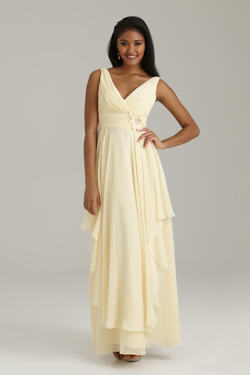 Bridesmaids, Bridesmaids Dresses, Fashion, Long, V-neck, V-neck Wedding Dresses, Allure Bridals, Chiffon, Ruching, Chiffon Wedding Dresses