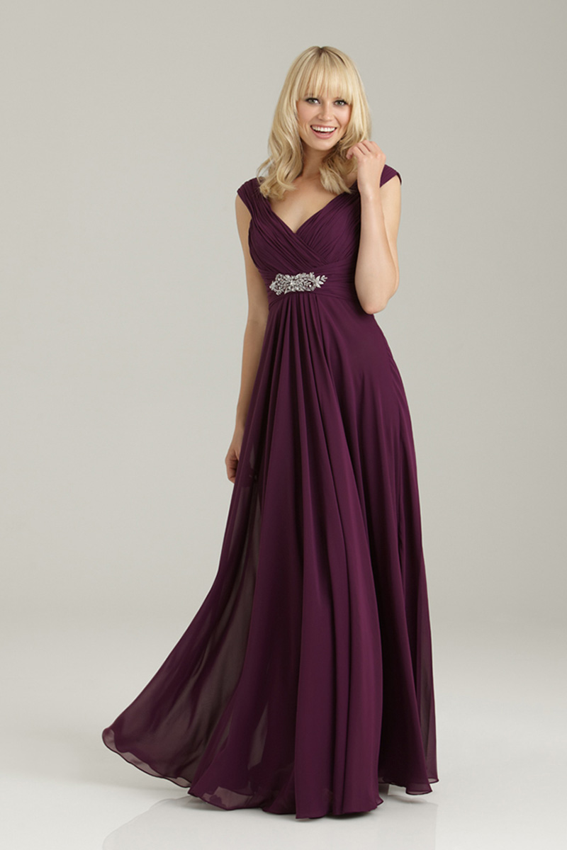 Bridesmaids, Bridesmaids Dresses, Fashion, Long, Allure Bridals, Chiffon, Broach, Ruching, Chiffon Wedding Dresses