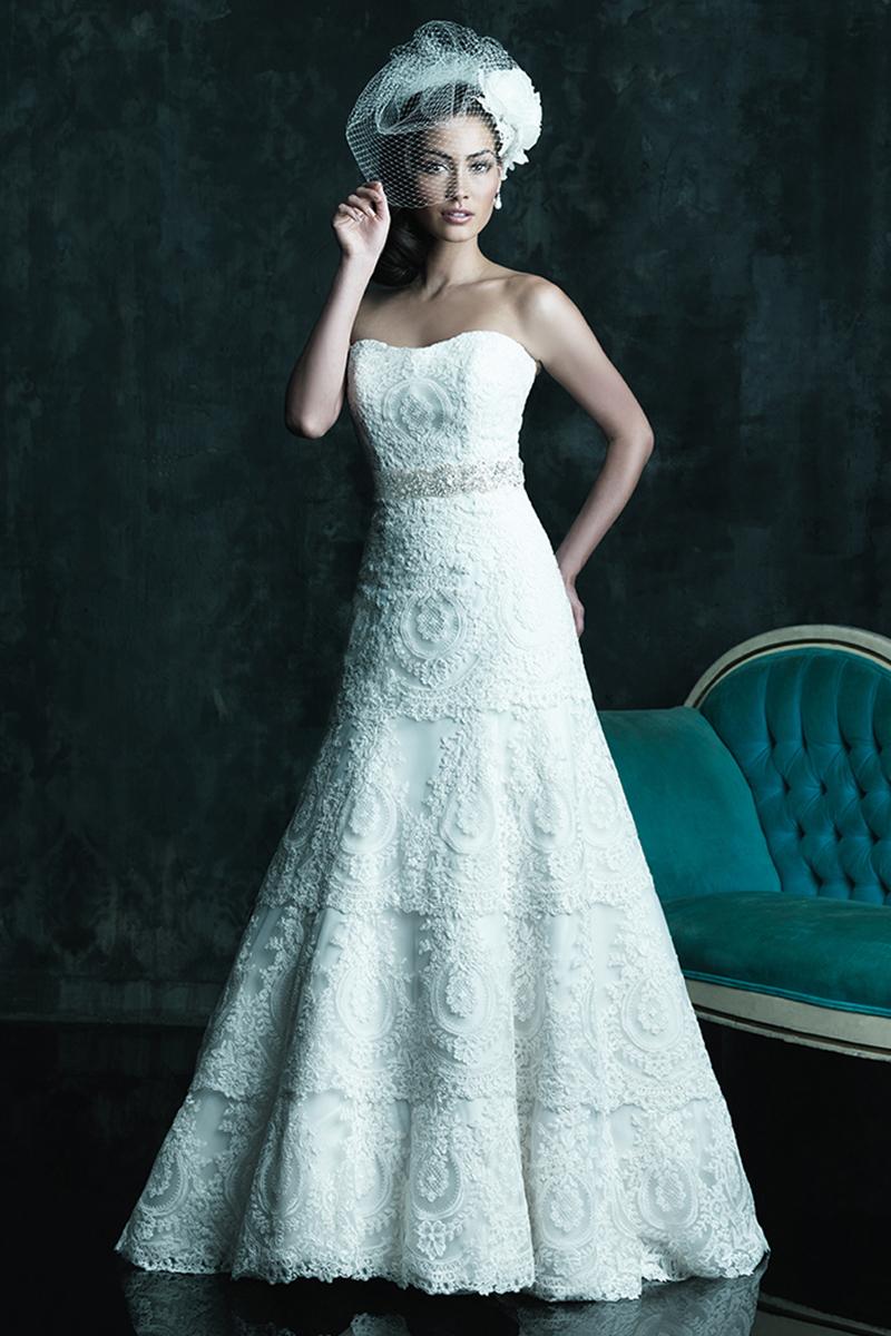 Wedding Dresses, A-line Wedding Dresses, Lace Wedding Dresses, Fashion, Lace, Strapless, Strapless Wedding Dresses, A-line, Allure Bridals, scooped neck