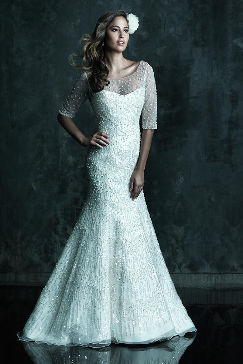 Wedding Dresses, Illusion Neckline Wedding Dresses, A-line Wedding Dresses, Fashion, A-line, Allure Bridals, Illusion, scooped neck, 3/4 length sleeves