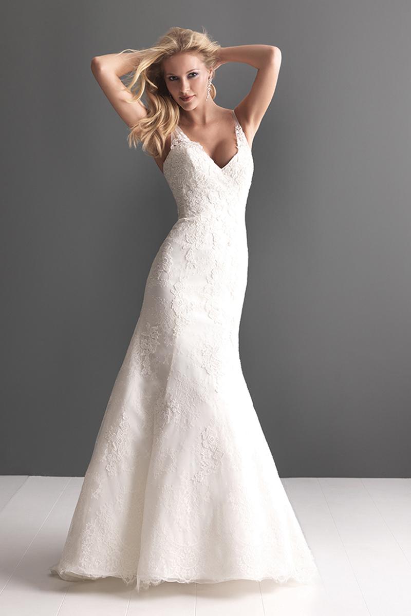 Wedding Dresses, Lace Wedding Dresses, Fashion, Lace, V-neck, V-neck Wedding Dresses, Buttons, Allure Bridals