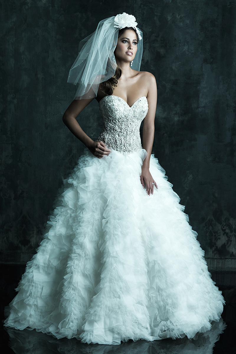 Wedding Dresses, Sweetheart Wedding Dresses, Illusion Neckline Wedding Dresses, Fashion, Sweetheart, Strapless, Strapless Wedding Dresses, Allure Bridals, Tulle, Embroidery, Swarovski crystals, Illusion, dropped waist, tulle wedding dresses