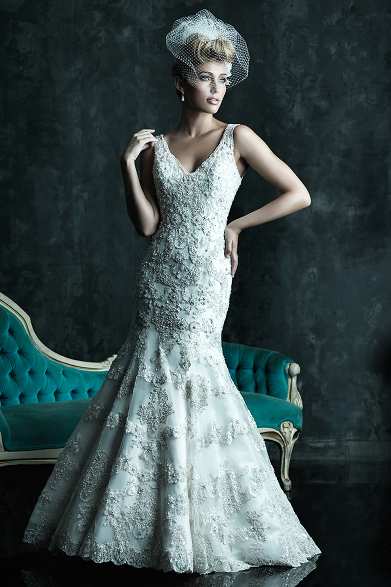 Wedding Dresses, Fashion, Beading, V-neck, V-neck Wedding Dresses, Fit and flare, Allure Bridals, Embroidery, Beaded Wedding Dresses