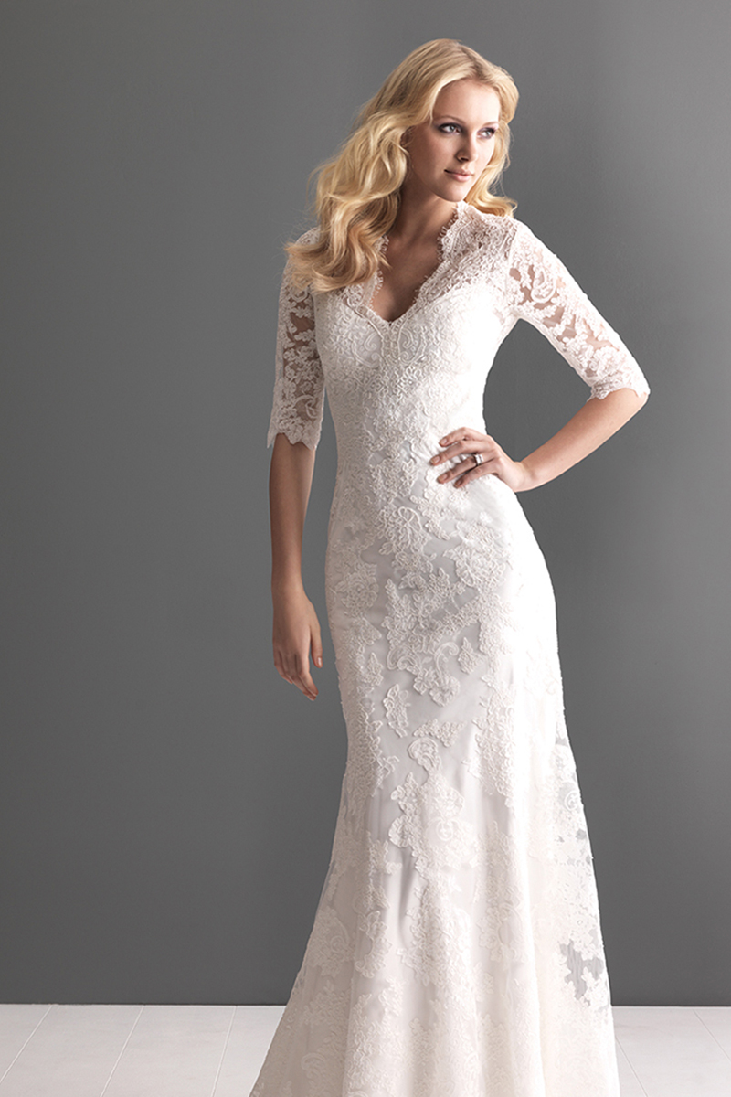 Wedding Dresses, Illusion Neckline Wedding Dresses, Lace Wedding Dresses, Fashion, Lace, Sleeves, Allure Bridals, Satin, Illusion, satin wedding dresses