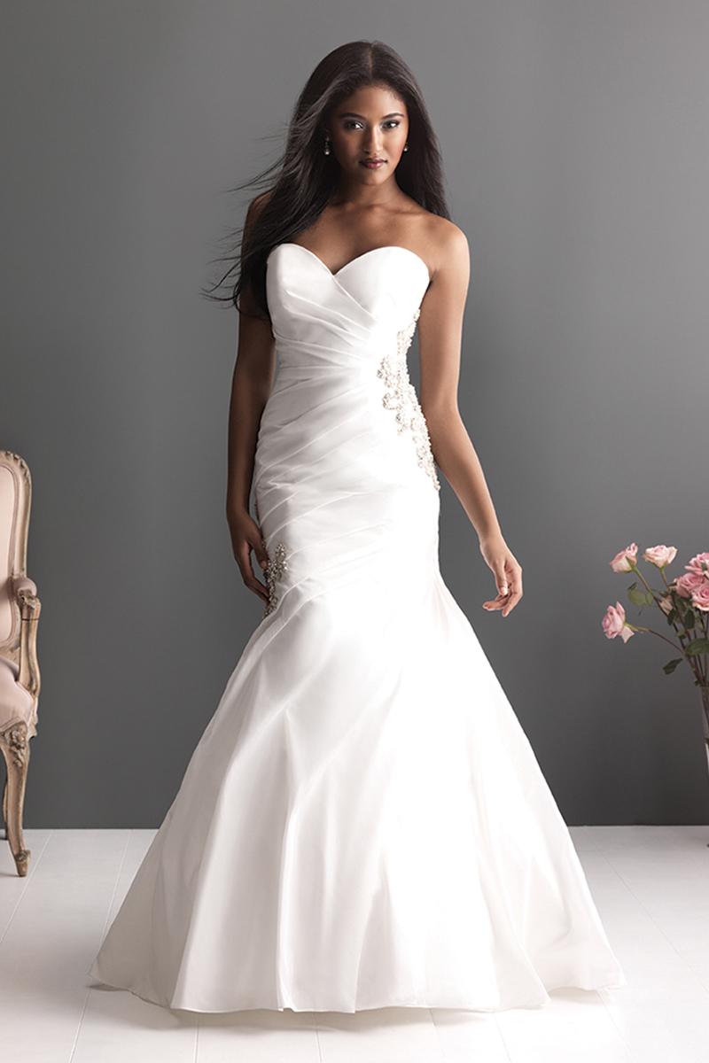 Wedding Dresses, Fashion, Strapless, Strapless Wedding Dresses, Allure Bridals, Embroidery, Crystals, Taffeta, Sweethear, dropped waist, taffeta wedding dresses