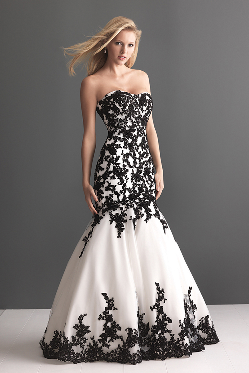 Fashion, Black and white, Lace, Applique, Fit and flare, Allure Bridals, Wedding Dresses, scooped neck, Lace Wedding Dresses