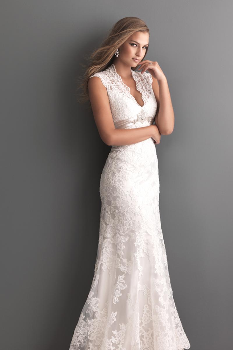 Wedding Dresses, Lace Wedding Dresses, Fashion, Lace, Allure Bridals, Satin, Swarovski crystals, empire waist, scalloped straps, satin wedding dresses