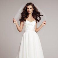 Wedding Dresses, A-line Wedding Dresses, Fashion, white, Fall, Winter, Classic, A-line, V-neck, V-neck Wedding Dresses, Amsale, Floor, Formal, Natural, Hip, Modest, Pleats, Sleeveless, Classic Wedding Dresses, winter wedding dresses, Fall Wedding Dresses, Formal Wedding Dresses, Floor Wedding Dresses, Modest Wedding Dresses, Hip Wedding Dresses