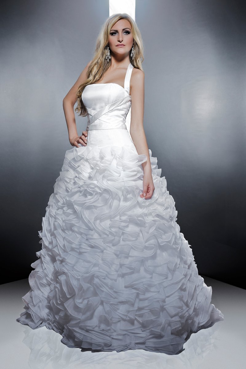 Wedding Dresses, A-line Wedding Dresses, Ruffled Wedding Dresses, Romantic Wedding Dresses, Fashion, white, ivory, Modern, Romantic, A-line, Halter, Satin, Floor, Formal, Organza, Natural, Silk, Ruffles, Sleeveless, Avant-Garde, Angel Rivera, Sash/Belt, Modern Wedding Dresses, halter wedding dresses, organza wedding dresses, satin wedding dresses, Formal Wedding Dresses, Silk Wedding Dresses, Floor Wedding Dresses, Sash Wedding Dresses, Belt Wedding Dresses