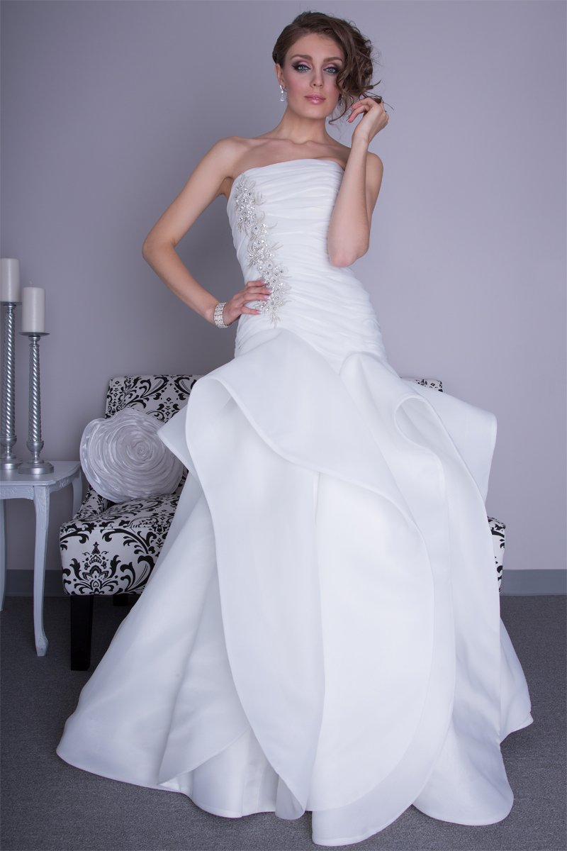 Wedding Dresses, Mermaid Wedding Dresses, Fashion, Spring, Strapless, Strapless Wedding Dresses, Beading, Satin, Floor, Formal, Organza, Hip, Dropped, Modest, Sleeveless, Ruching, Angel Rivera, Fit-n-Flare, pleasts, Beaded Wedding Dresses, organza wedding dresses, Spring Wedding Dresses, satin wedding dresses, Formal Wedding Dresses, Floor Wedding Dresses, Modest Wedding Dresses, Hip Wedding Dresses