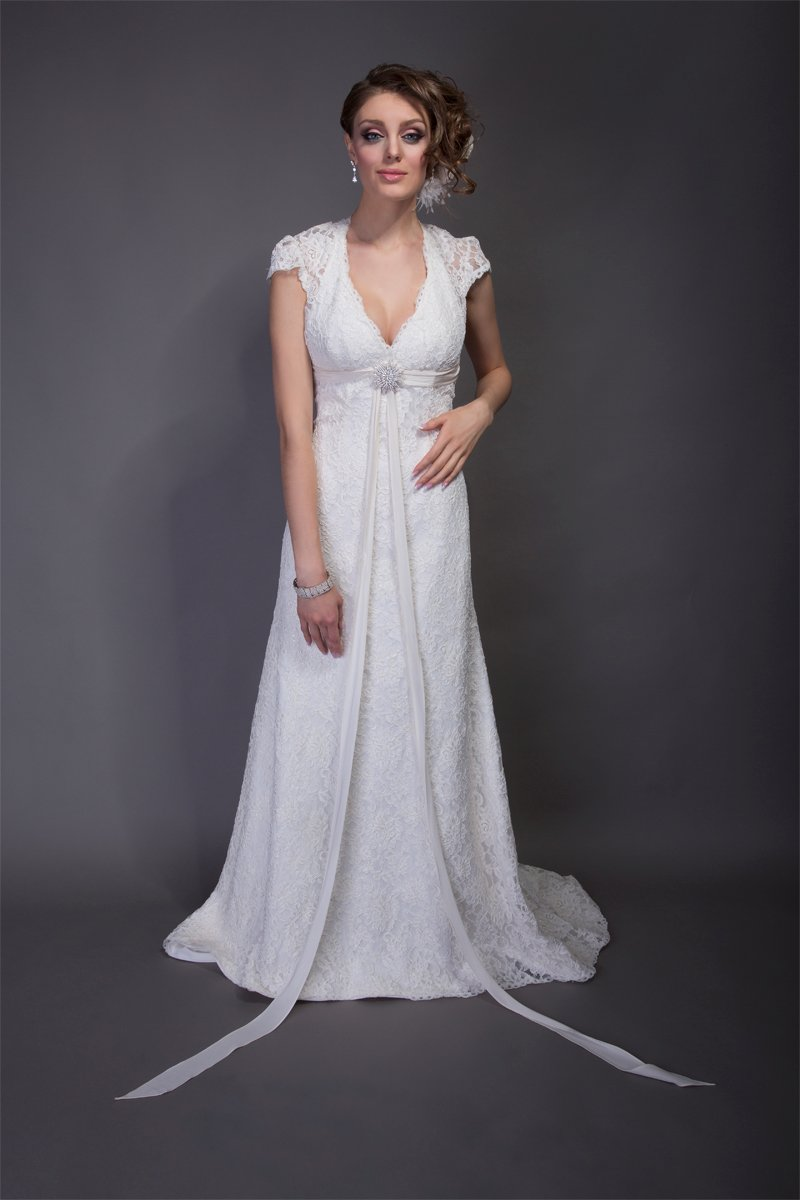 A-line Wedding Dresses, Lace Wedding Dresses, Romantic Wedding Dresses, Fashion, white, Spring, Summer, Modern, Romantic, Lace, A-line, Beading, Empire, V-neck, V-neck Wedding Dresses, Floor, Chiffon, Formal, Wedding dress, Angel Rivera, cap sleeve, Modern Wedding Dresses, Beaded Wedding Dresses, Spring Wedding Dresses, Chiffon Wedding Dresses, Formal Wedding Dresses, Summer Wedding Dresses, Floor Wedding Dresses