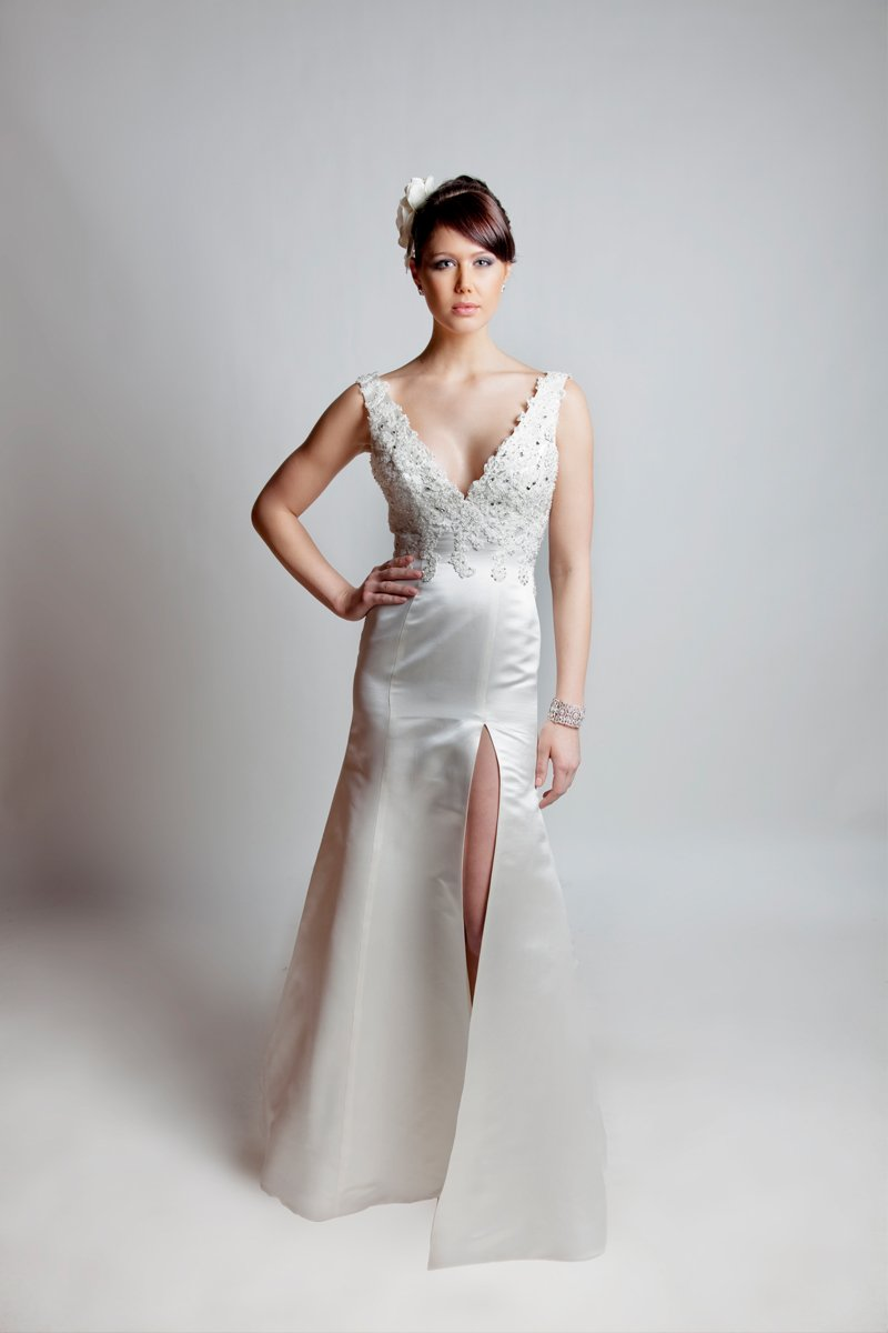 Mermaid Wedding Dresses, Lace Wedding Dresses, Vintage Wedding Dresses, Fashion, ivory, Vintage, Modern, Lace, Beading, Empire, V-neck, V-neck Wedding Dresses, Satin, Floor, Wedding dress, Silk, Informal, Sleeveless, Mermaid/Trumpet, Angel Rivera, Fit-n-Flare, Modern Wedding Dresses, Beaded Wedding Dresses, trumpet wedding dresses, satin wedding dresses, Silk Wedding Dresses, Informal Wedding Dresses, Floor Wedding Dresses