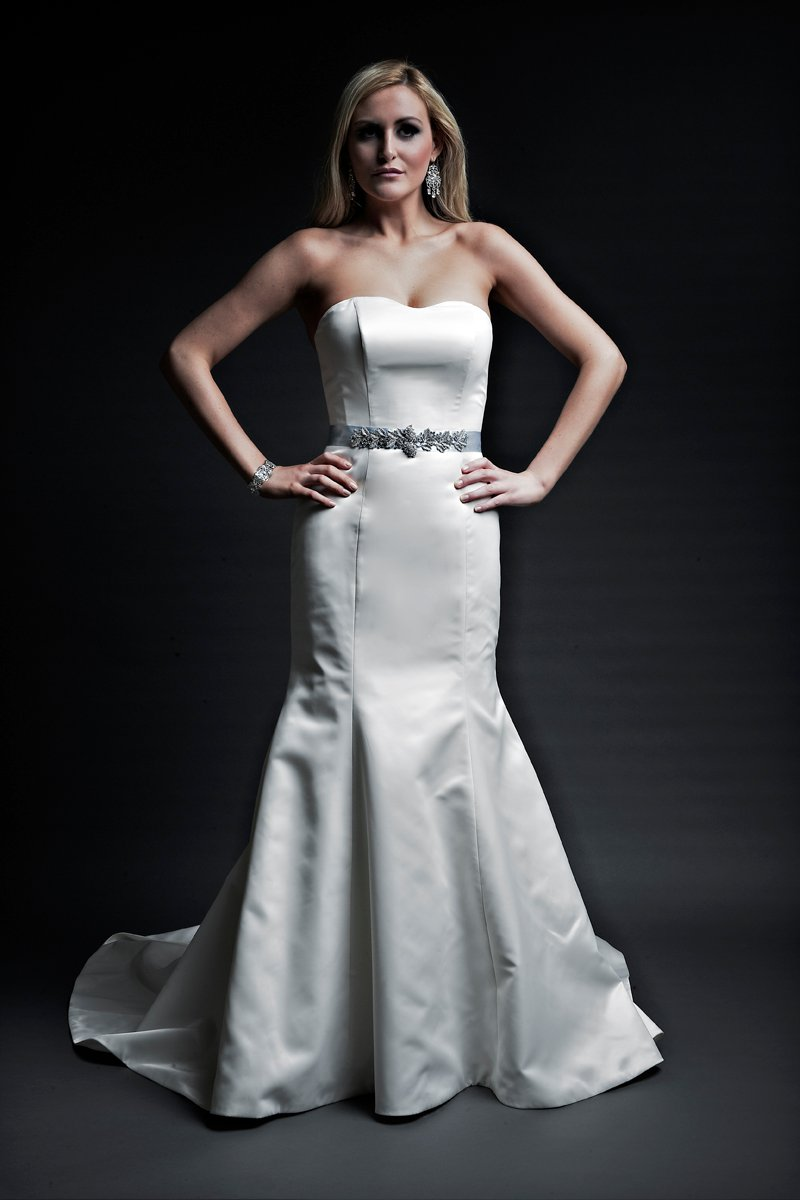 Fashion, ivory, Formal, Satin, Classic, Beading, Wedding dress, Strapless, Floor, Modest, Empire, Sleeveless, Fit-n-Flare, Mermaid/Trumpet, Sash/Belt, Angel Rivera, Strapless Wedding Dresses, Floor Wedding Dresses, Beaded Wedding Dresses, Sash Wedding Dresses, Belt Wedding Dresses, satin wedding dresses, Classic Wedding Dresses, Formal Wedding Dresses, Modest Wedding Dresses, Mermaid Wedding Dresses, trumpet wedding dresses