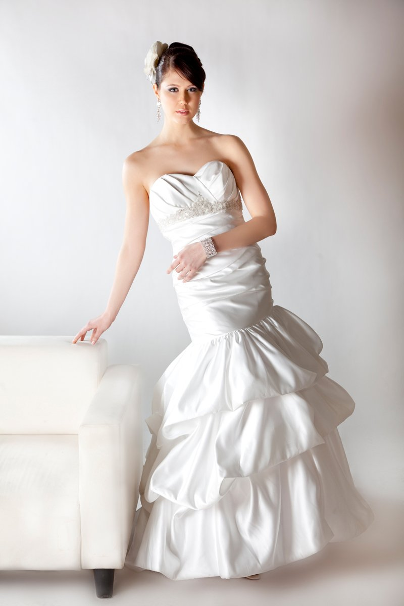 Sweetheart Wedding Dresses, Mermaid Wedding Dresses, Romantic Wedding Dresses, Fashion, ivory, Modern, Romantic, Sweetheart, Strapless, Strapless Wedding Dresses, Beading, Empire, Satin, Floor, Formal, Wedding dress, Sleeveless, Mermaid/Trumpet, Angel Rivera, Fit-n-Flare, pickups, Modern Wedding Dresses, Beaded Wedding Dresses, trumpet wedding dresses, satin wedding dresses, Formal Wedding Dresses, Floor Wedding Dresses