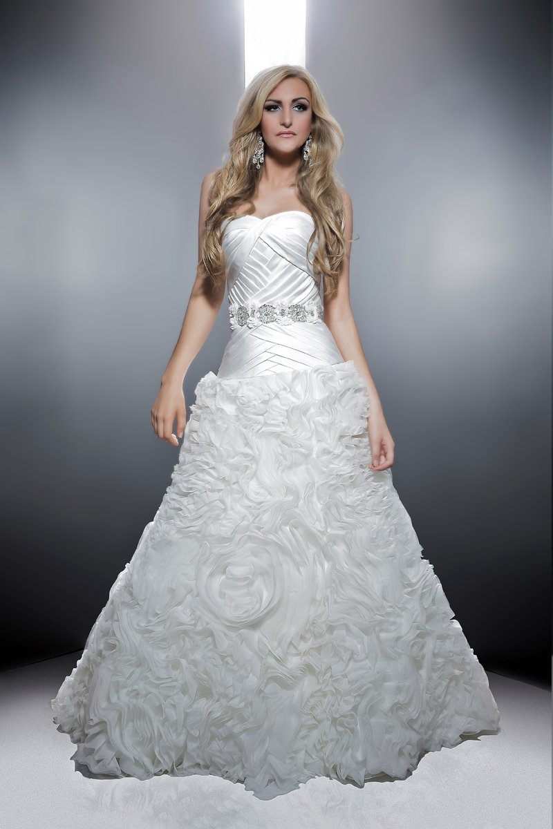 Sweetheart Wedding Dresses, Mermaid Wedding Dresses, Ruffled Wedding Dresses, Romantic Wedding Dresses, Fashion, white, ivory, Modern, Romantic, Sweetheart, Strapless, Strapless Wedding Dresses, Satin, Floor, Formal, Wedding dress, Organza, Ruffles, Dropped, Sleeveless, Ruching, Mermaid/Trumpet, Angel Rivera, Sash/Belt, Modern Wedding Dresses, organza wedding dresses, trumpet wedding dresses, satin wedding dresses, Formal Wedding Dresses, Floor Wedding Dresses, Sash Wedding Dresses, Belt Wedding Dresses