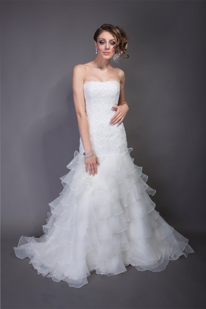 Style bernice organza dropped waist aline gown with tiered for Wedding dresses shabby chic