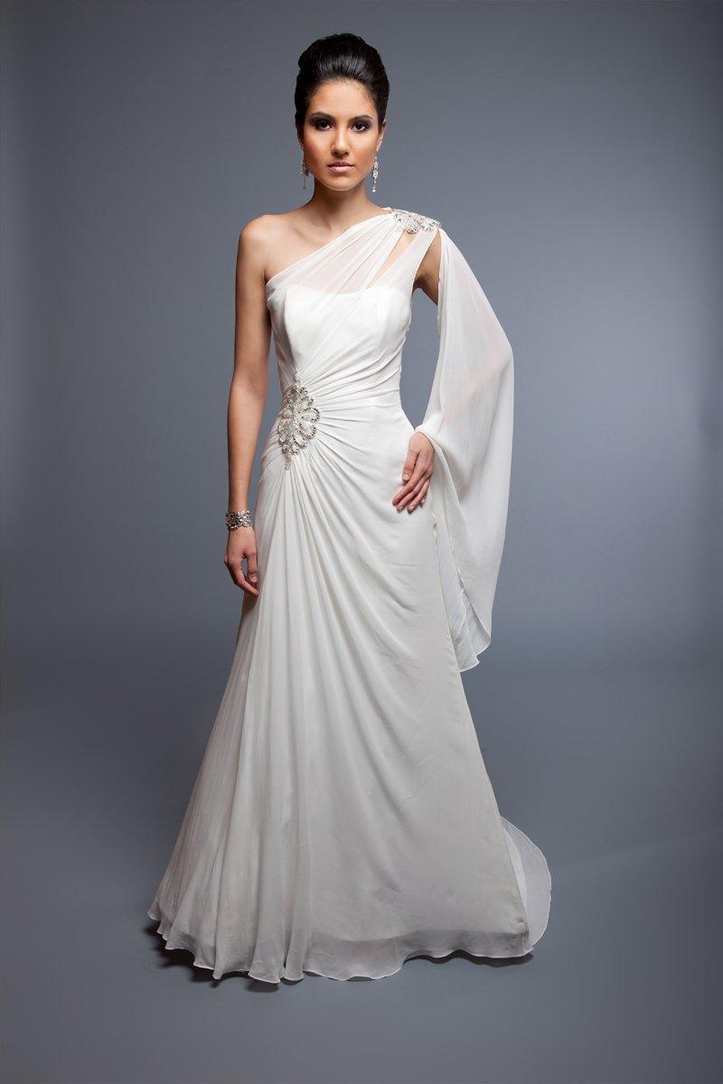 Lydia silk chiffon amp empress silk satin trumpet gown for One shoulder long sleeve wedding dress