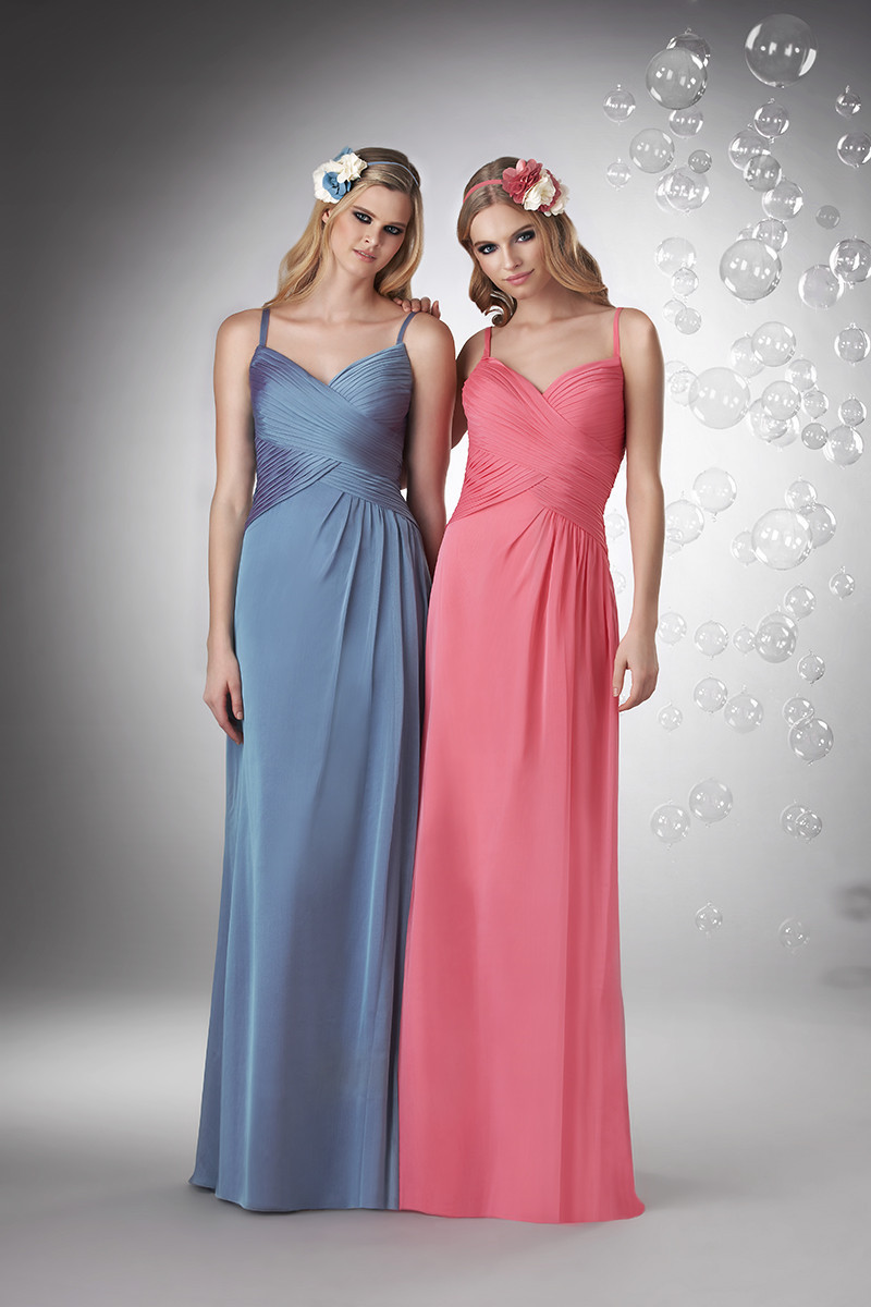 Bridesmaids Dresses, A-line Wedding Dresses, Romantic Wedding Dresses, Fashion, pink, blue, Spring, Fall, Modern, Romantic, A-line, Spaghetti straps, V-neck, V-neck Wedding Dresses, Floor, Chiffon, Formal, Natural, Modest, Sleeveless, Ruching, Bari Jay Bridesmaids, Modern Wedding Dresses, Spring Wedding Dresses, Fall Wedding Dresses, Spahetti Strap Wedding Dresses, Chiffon Wedding Dresses, Formal Wedding Dresses, Floor Wedding Dresses, Modest Wedding Dresses