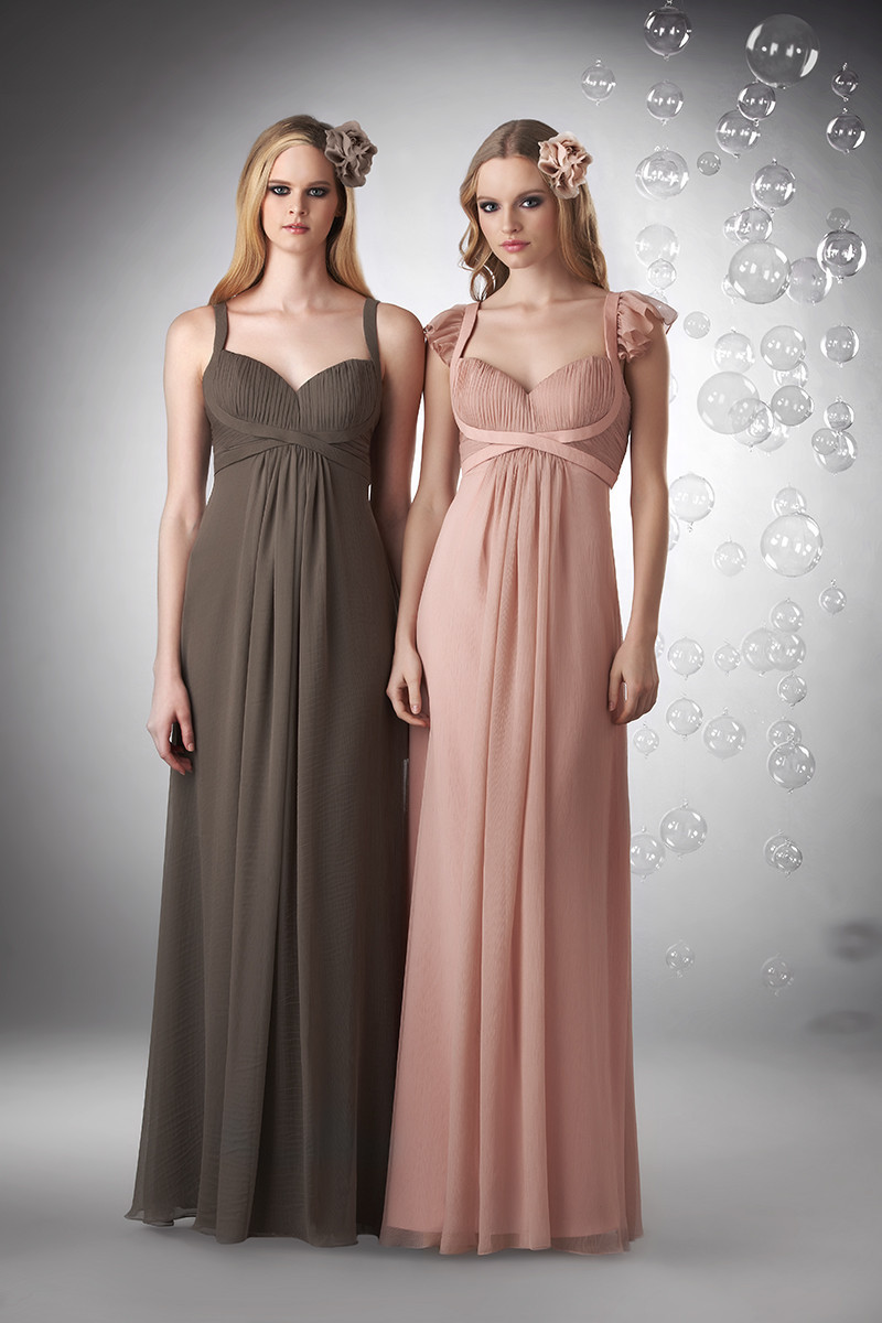 Bridesmaid Dresses, A-line Wedding Dresses, Ruffled Wedding Dresses, Beach Wedding Dresses, Fashion, pink, brown, Beach, Spring, Summer, Modern, Shabby Chic, A-line, Empire, V-neck, V-neck Wedding Dresses, Floor, Chiffon, Formal, Ruffles, Sleeveless, Bari Jay Bridesmaids, Modern Wedding Dresses, Spring Wedding Dresses, Chiffon Wedding Dresses, Formal Wedding Dresses, Summer Wedding Dresses, Floor Wedding Dresses, Shabby Chic Wedding Dresses