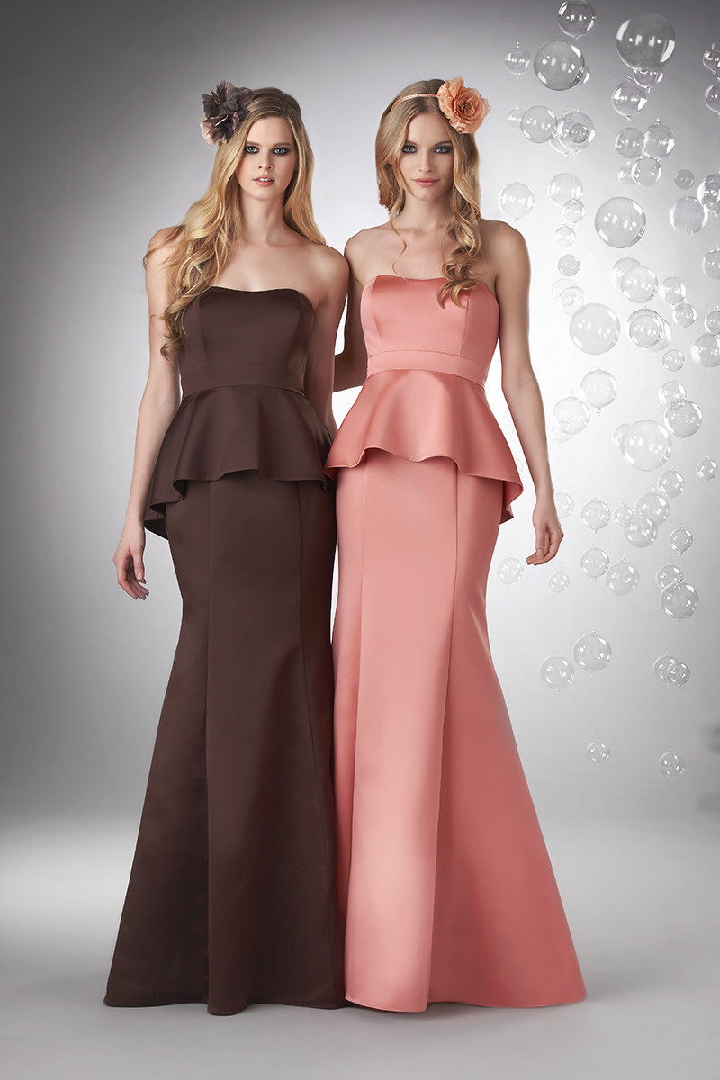 Bridesmaid Dresses, Fashion, Natural, pink, Romantic, Satin, Sleeveless, Spring, Strapless, Summer, Winter, Bari Jay Bridesmaids, brown, Fall, Fit-n-Flare, Floor, Formal, Hip, Modern, Strapless Wedding Dresses, Floor Wedding Dresses, satin wedding dresses, Fall Wedding Dresses, Spring Wedding Dresses, Summer Wedding Dresses, winter wedding dresses, Formal Wedding Dresses, Hip Wedding Dresses, Modern Wedding Dresses, Romantic Wedding Dresses, Mermaid Wedding Dresses