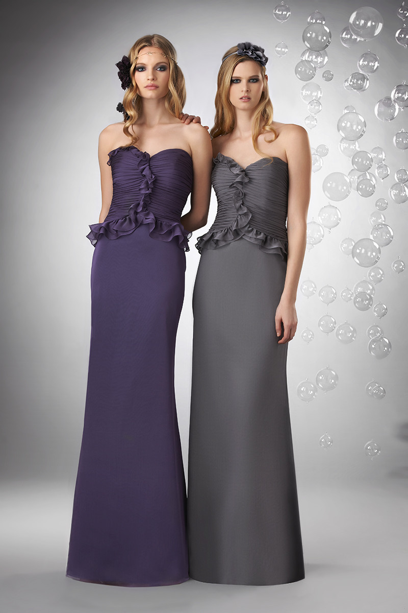 Bridesmaid Dresses, Sweetheart Wedding Dresses, A-line Wedding Dresses, Ruffled Wedding Dresses, Romantic Wedding Dresses, Fashion, purple, silver, Fall, Winter, Romantic, Sweetheart, Strapless, Strapless Wedding Dresses, A-line, Floor, Chiffon, Formal, Natural, Ruffles, Modest, Sleeveless, Ruching, Bari Jay Bridesmaids, winter wedding dresses, Fall Wedding Dresses, Chiffon Wedding Dresses, Formal Wedding Dresses, Floor Wedding Dresses, Modest Wedding Dresses