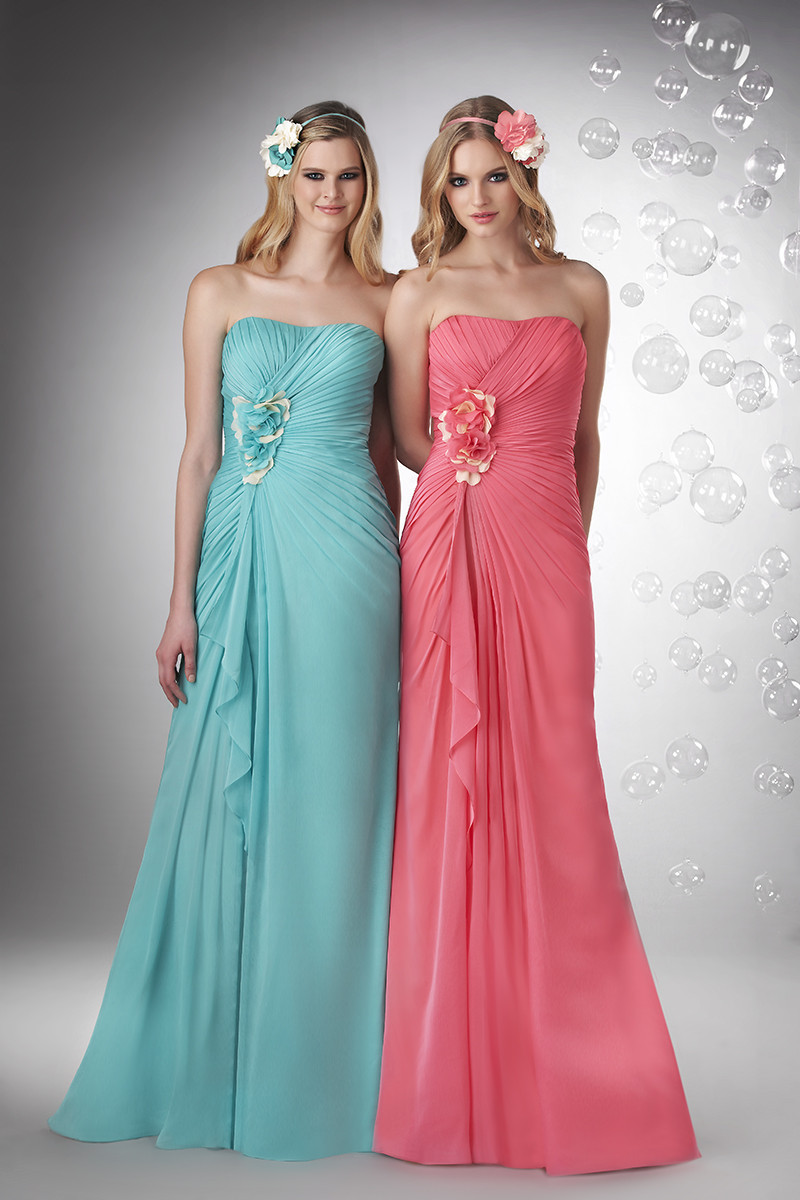 Bridesmaid Dresses, A-line Wedding Dresses, Romantic Wedding Dresses, Beach Wedding Dresses, Fashion, pink, blue, Beach, Spring, Flowers, Romantic, Strapless, Strapless Wedding Dresses, A-line, Floor, Chiffon, Natural, Hip, Modest, Sleeveless, Ruching, Bari Jay Bridesmaids, Spring Wedding Dresses, Flower Wedding Dresses, Chiffon Wedding Dresses, Floor Wedding Dresses, Modest Wedding Dresses, Hip Wedding Dresses